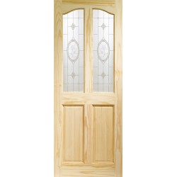 Clear Pine Rio 2P/2L with Crystal Rose Glass Untreated Internal Door - XL Joinery