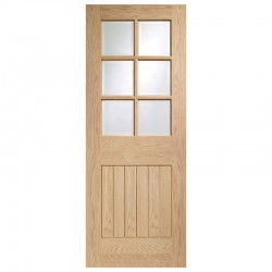 Suffolk 6 Light Pre-Finished Internal Oak Door with Clear Bevelled Glass